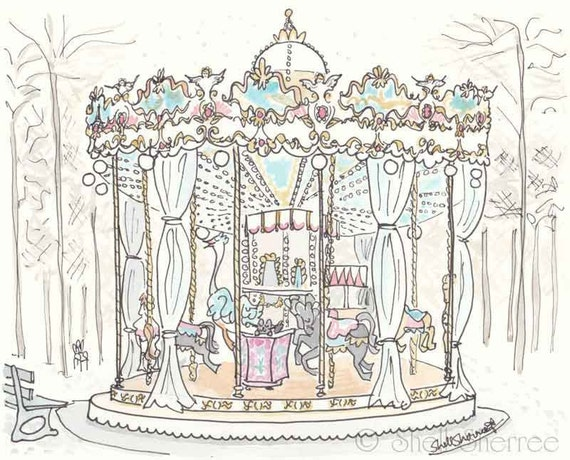 Carousel in Paris illustration - Jardins des Tuileries Carrousel - whimsical giclee print