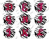 Too Hot Zebra and Pink Bottle Cap Image Alphabet