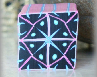 RAW Polymer Clay Kaleidoscope Cane Black, Turquoise, Pink and White No. 114