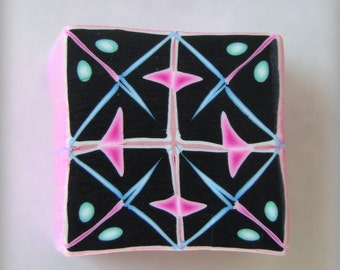 RAW Polymer Clay Kaleidoscope Cane Black, Turquoise, Pink and White No. 115