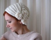 Ivory Crochet Flowery Beret