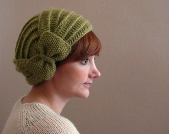 Green Crochet Beret with Bow
