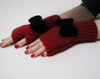 Red Fingerless Gloves with Black Bow
