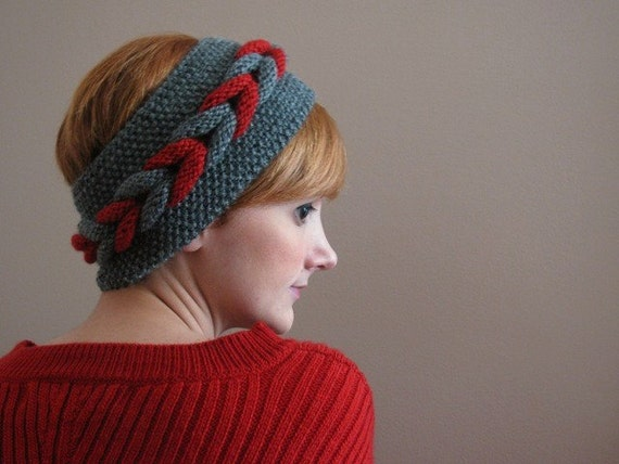Gray-Red Braided Knitted Headband