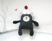 Brooch- cool bear with a cool hat (blue jeans fabric, white hat with red bulb)