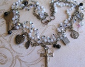 Gotta Have Faith - A Vintage Religious Layered Assemblage Necklace - Antique Medals - Bible And Heart Lockets, Crucifix, Rosary And Keys