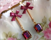 LOVELY LOLA Earrings - Sparkling Jewels And Beautiful Bows - Romantic Victorian Earrings - Rich Ruby Tones -  A JealousCat Exclusive Design