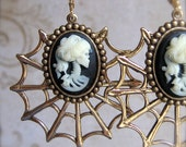 THE FORGOTTEN Earrings - Lonely And Solitary In Her Death - No One To Mourn Her - Gothic And Dark - Lolita Cameos And Golden Spider Webs