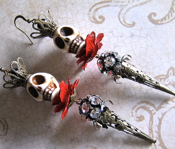 SKULL KING Earrings - Grand Macabre - Ghoulish And Fiendish Just The Way You Like It - Oh And With Lots Of Sparkle Of Course