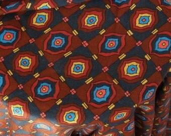 Vintage Rayon/Cotton Challis Fabric ~ Chocolate and Turquoise 1 Yard