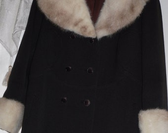 1960s Vintage Harris Furs of New York  Coat with Mink Collar and Cuffs