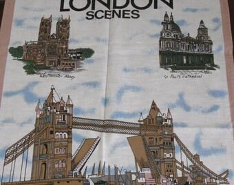 REDUCED Vintage Souvenir Dish Towel LONDON CALLING