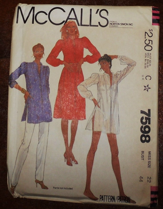 Vintage Uncut McCalls 7598 Pattern 1980s Dress and Tunic