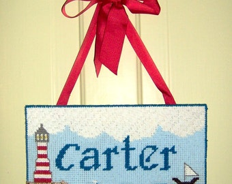 One of a Kind - Custom Plastic Canvas Name Plaque Pattern and Kit