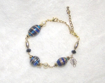 Beaded Watch Band or Bracelet and matching Earrings