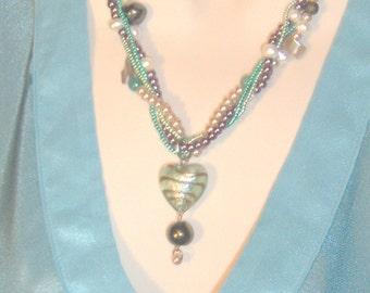 Heart Shaped Lampwork Pendant on Multi Strand Necklace