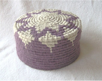 Dusty Plum Starburst Coiled Basket with Lid