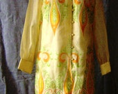 VTG Signed Shaheen Button Front Shift Dress B 40