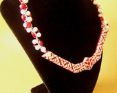 Celtic Love Knot Bib with Pearls, Coral and Swarovski