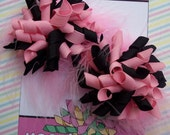 Pink and Black Korker Bows with Marabou Pigtail Set