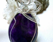 Purple Tears - Brazilian Amethyst Teardrop Necklace and Earring Set in Sterling Silver