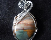 Sunset by the Seashore - a Jasper and Silver Pendant