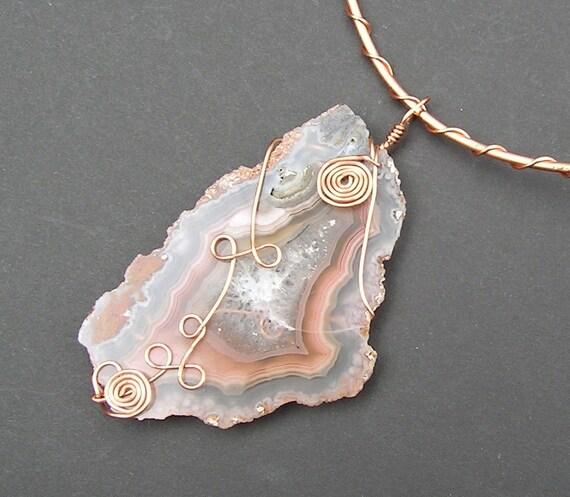 Brazilian Agate and Copper Pendant and Neck Collar