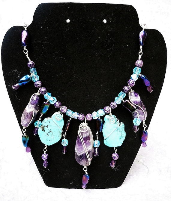 Turquoise and Amethyst Sterling Silver Wire Wrapped Necklace