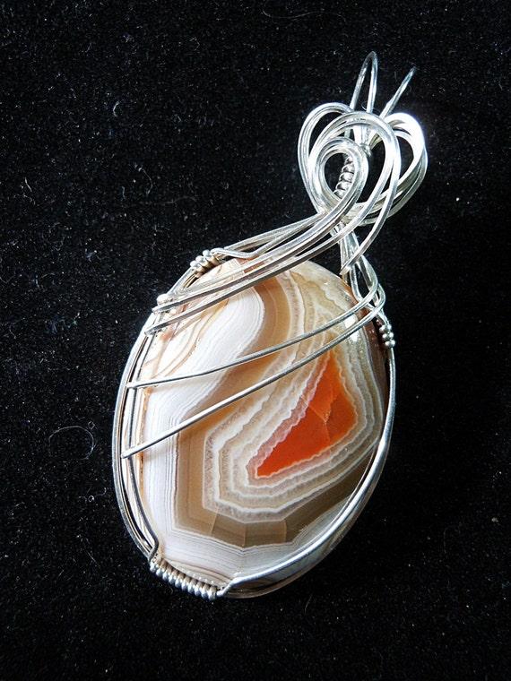 Orange Salt Water Taffy Pendant in Sterling Silver