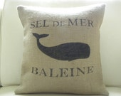 Burlap pillow cover hessian cushion cover  French Whale - Etsy Front Page item