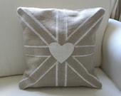 Burlap and grain sack Union Jack pillow cover