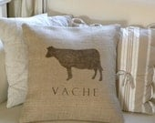 Burlap French Cow Vache pillow cover