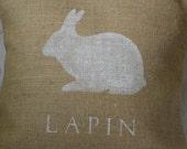 Burlap (hessian) French white Rabbit Lapin pillow cover nursery