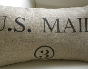Burlap (hessian) replica US Mail sack bag pillow cover