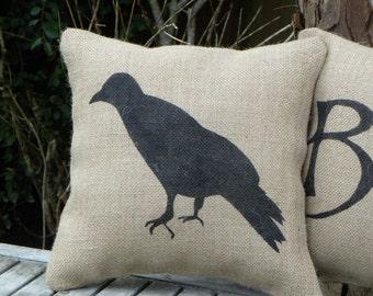 Halloween crow raven silhouette burlap hessian accent pillow cushion