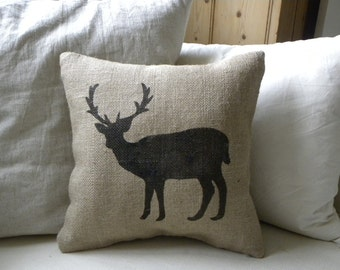 Burlap (hessian) deer reindeer pillow cushion for Christmas winter or boys room - Etsy Front Page item