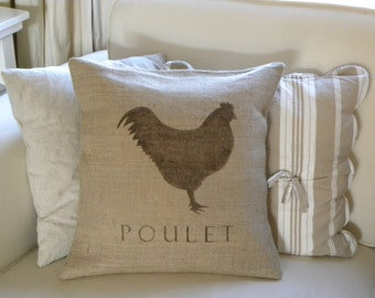 Burlap (hessian) French Chicken Poulet pillow cover