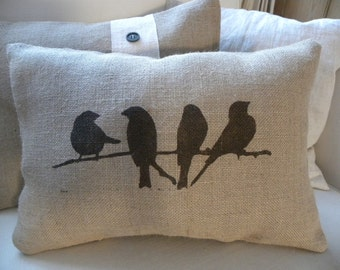 Cute burlap (hessian) birds on branch pillow