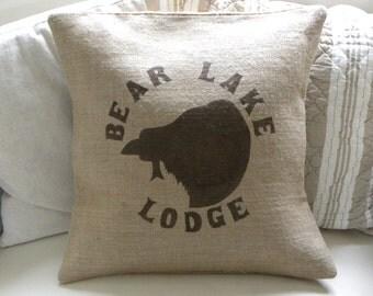 Burlap (hessian) bear lake pillow cover