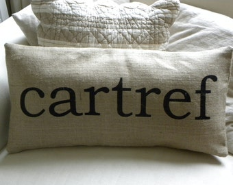 Burlap (hessian) pillow cover Welsh cartref home hessian cushion cover