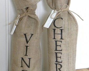 Burlap wine bottle bag with clay tag