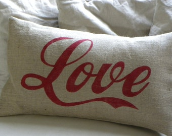 Burlap love lumbar pillow cushion cover perfect for Valentine's Day