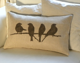 READY TO SHIP Birds on branch burlap (hessian) pillow cushion cover