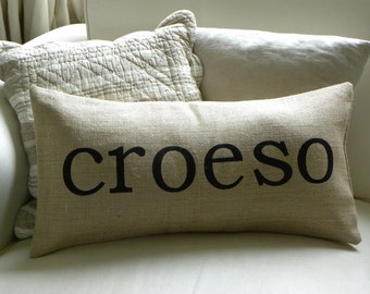 Welsh Croeso Welcome burlap (hessian) pillow cushion cover