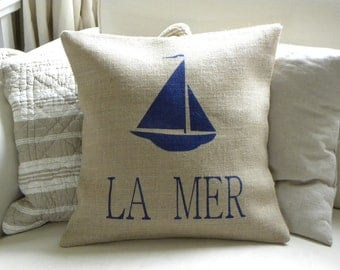 Burlap (hessian) beach house yacht La Mer pillow cover