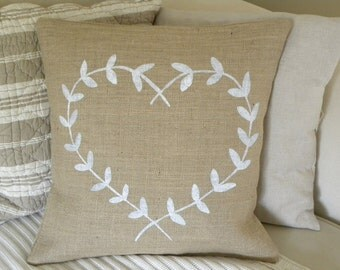 Burlap (hessian) heart bay laurel wreath pillow cover