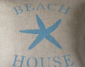 Burlap (hessian) beach house starfish sea star pillow cover