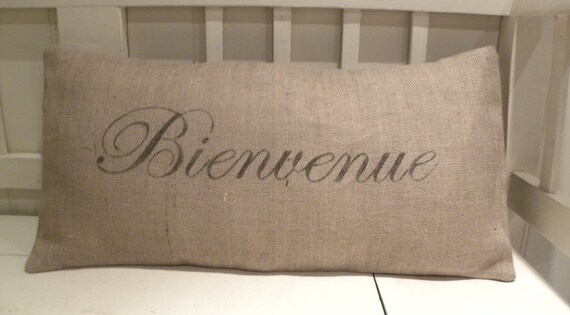 Burlap Bienvenue Welcome French France pillow cover