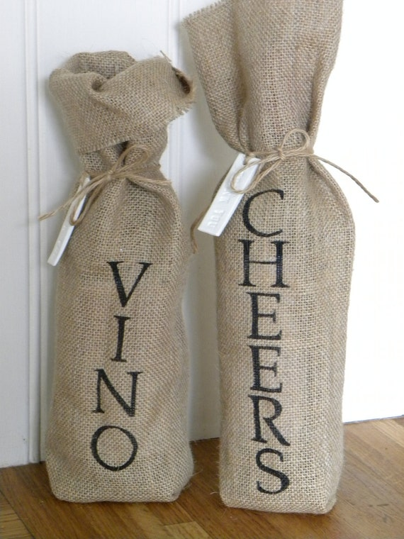 Burlap (hessian) wine bottle bag with clay tag