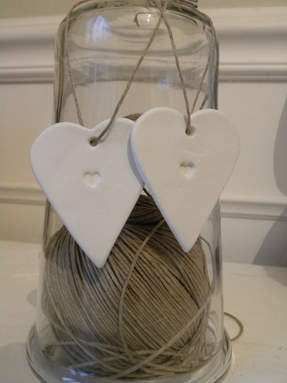 White clay hanging love heart decoration set of 2